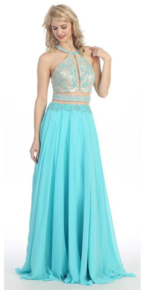 Halter Prom Gown Turquoise A Line Chiffon Nude Mesh