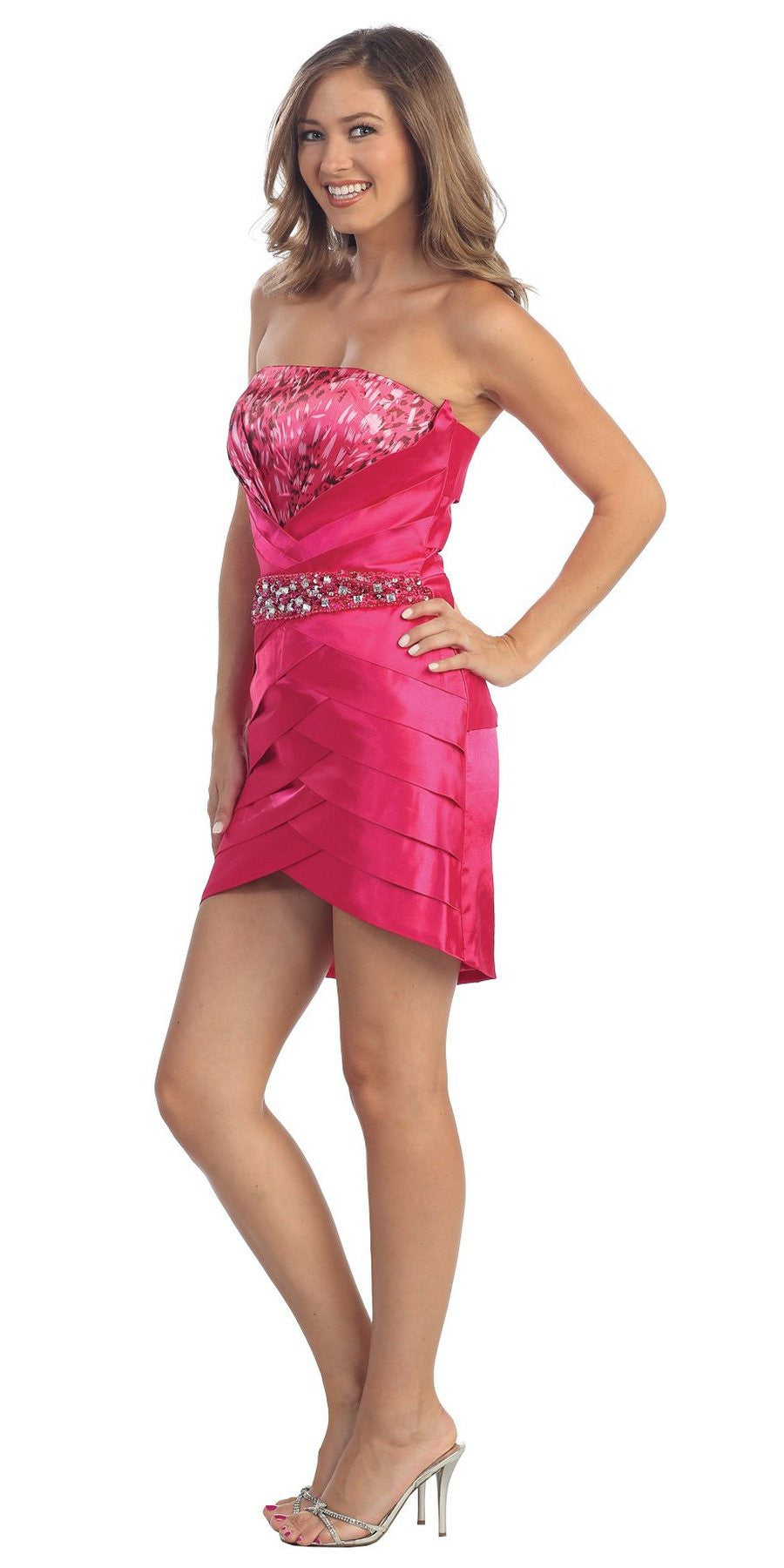 fuschia strapless staing short dress with pleating