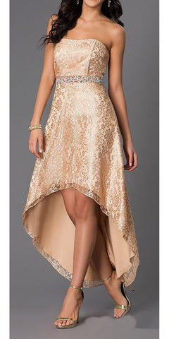 High Low Gold Wedding Reception Gown Strapless Rhinestone Waist