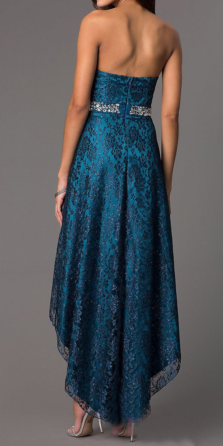 High Low Teal Wedding Reception Gown Strapless Rhinestone Waist