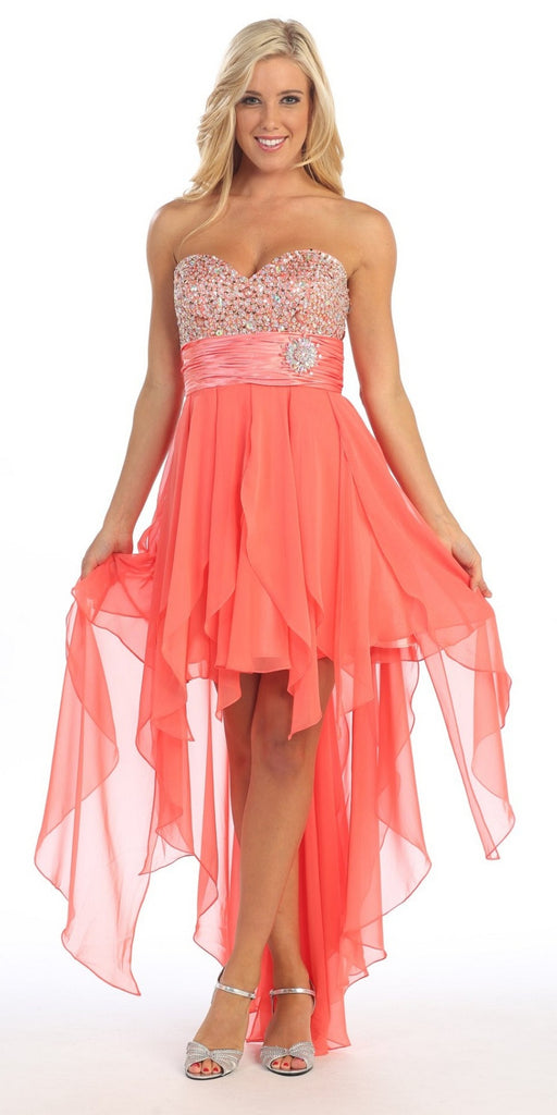 Strapless High Low Coral Dress Beads, Sequins Asymmetrical Skirt