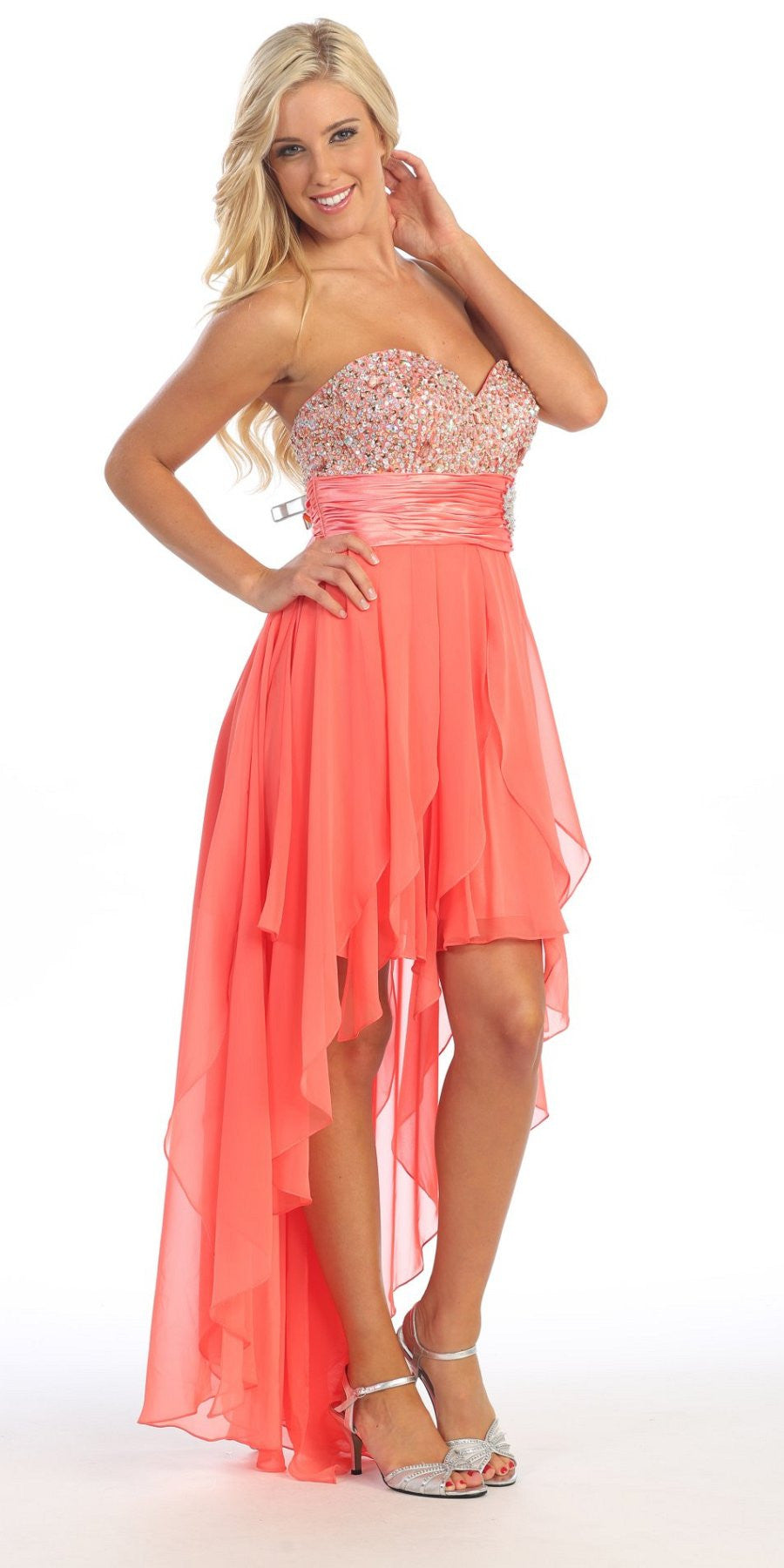 High Low Homecoming Coral Dress Beads Sequins Asymmetrical Skirt