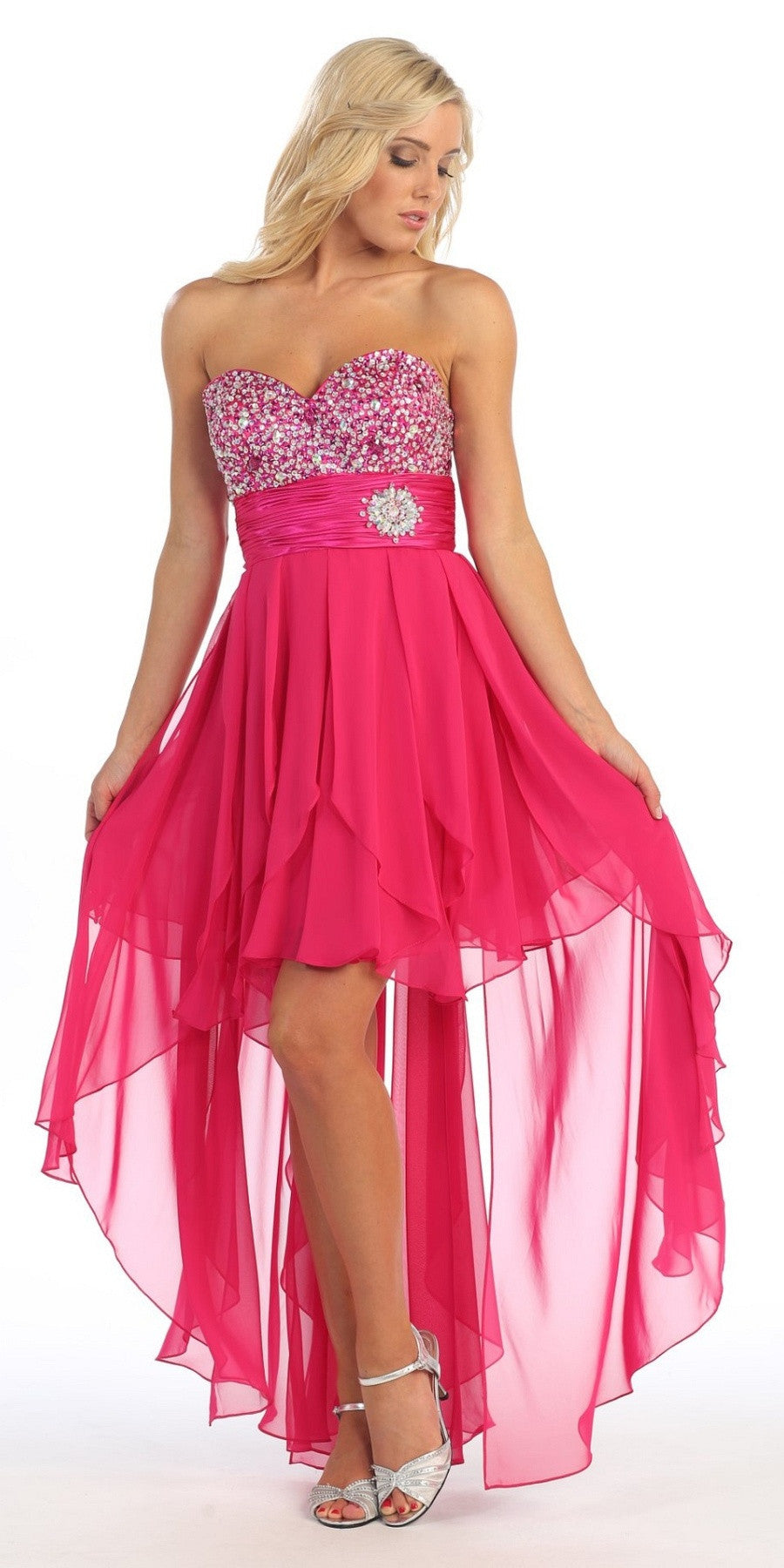High Low Homecoming Fuchsia Dress Beads Sequins Asymmetrical Skirt - DiscountDressShop