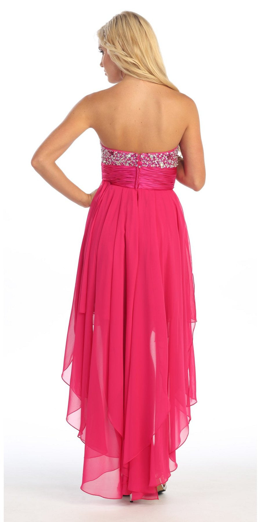 High Low Homecoming Fuchsia Dress Beads Sequins Asymmetrical Skirt