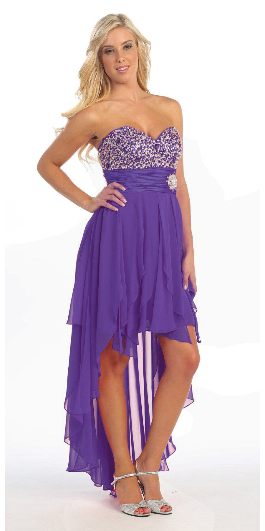 High Low Homecoming Purple Dress Beads Sequins Asymmetrical Skirt