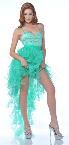 High Low Orange Pageant Dress Bead Corset Ruffled Organza Skirt