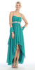 High Low Sleeveless Spaghetti Strap Jade Semi Formal Dress