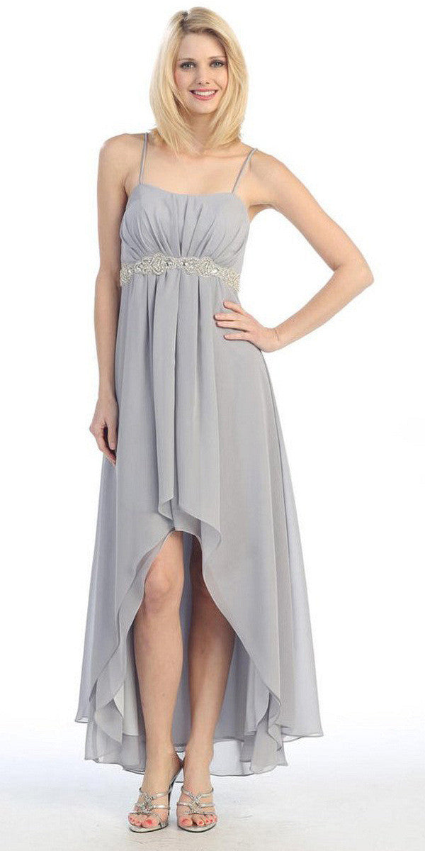 High Low Sleeveless Spaghetti Strap Silver Semi Formal Dress