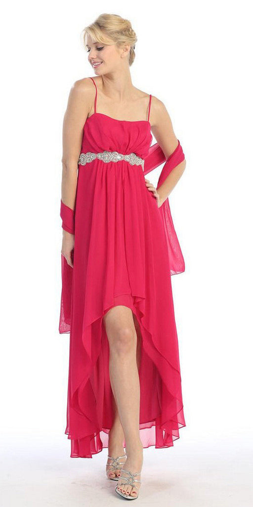 High Low Sleeveless Spaghetti Strap Red Semi Formal Dress - DiscountDressShop