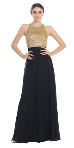 High Neckline Evening Gown Black Gold Sequin Top Chiffon Skirt