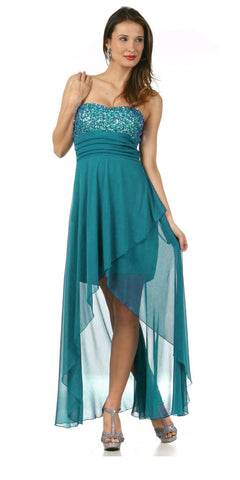 Sequin/Rhinestone Top High Low Jade Homecoming Dress Chiffon