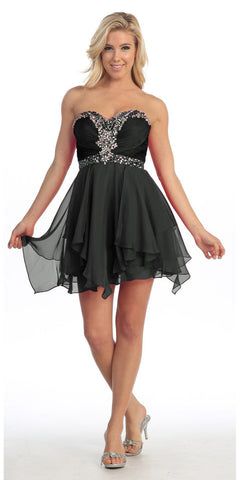 Short Black A Line Prom Dress Sweetheart Rhinestone Empire Waist