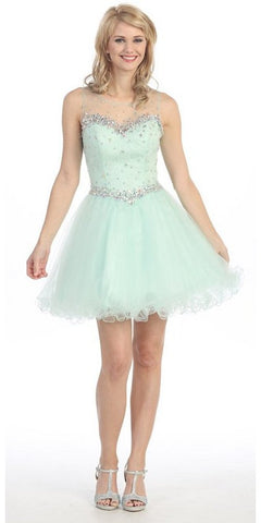 Illusion Neckline Keyhole Back Short Mint Puffy Prom Dress