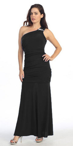 ITY Long Black One Strap Gown Semi Formal
