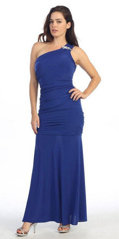 ITY Long Royal Blue One Strap Gown Semi Formal
