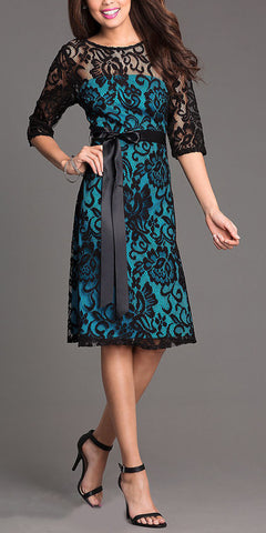 Knee Length Bateau Neck Lace Black/Teal Dinner Dress
