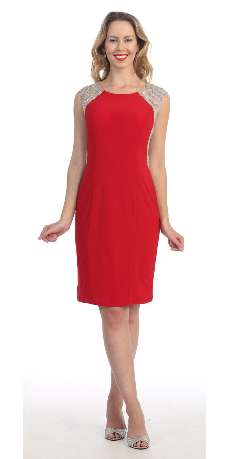 Knee Length Red Cocktail Dress Form Fitting Sleeveless Stones
