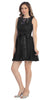 Knee Length Black Lace Dress Short Bridesmaid Sleeveless Bow Waist