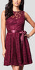 Knee Length Burgundy Lace Dress Short Bridesmaid Sleeveless Bow Waist