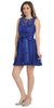Knee Length Royal Blue Lace Dress Short Bridesmaid Sleeveless Bow Waist
