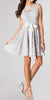 Knee Length Silver Lace Dress Short Bridesmaid Sleeveless Bow Waist