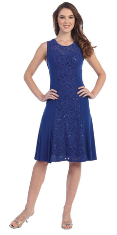 Knee Length Royal Blue Lace/Jersey Embellished Dress Sleeveless