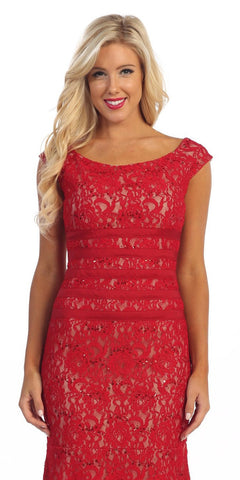 Knee Length Red Nude Lace Dress Cap Sleeves Bateau Neckline