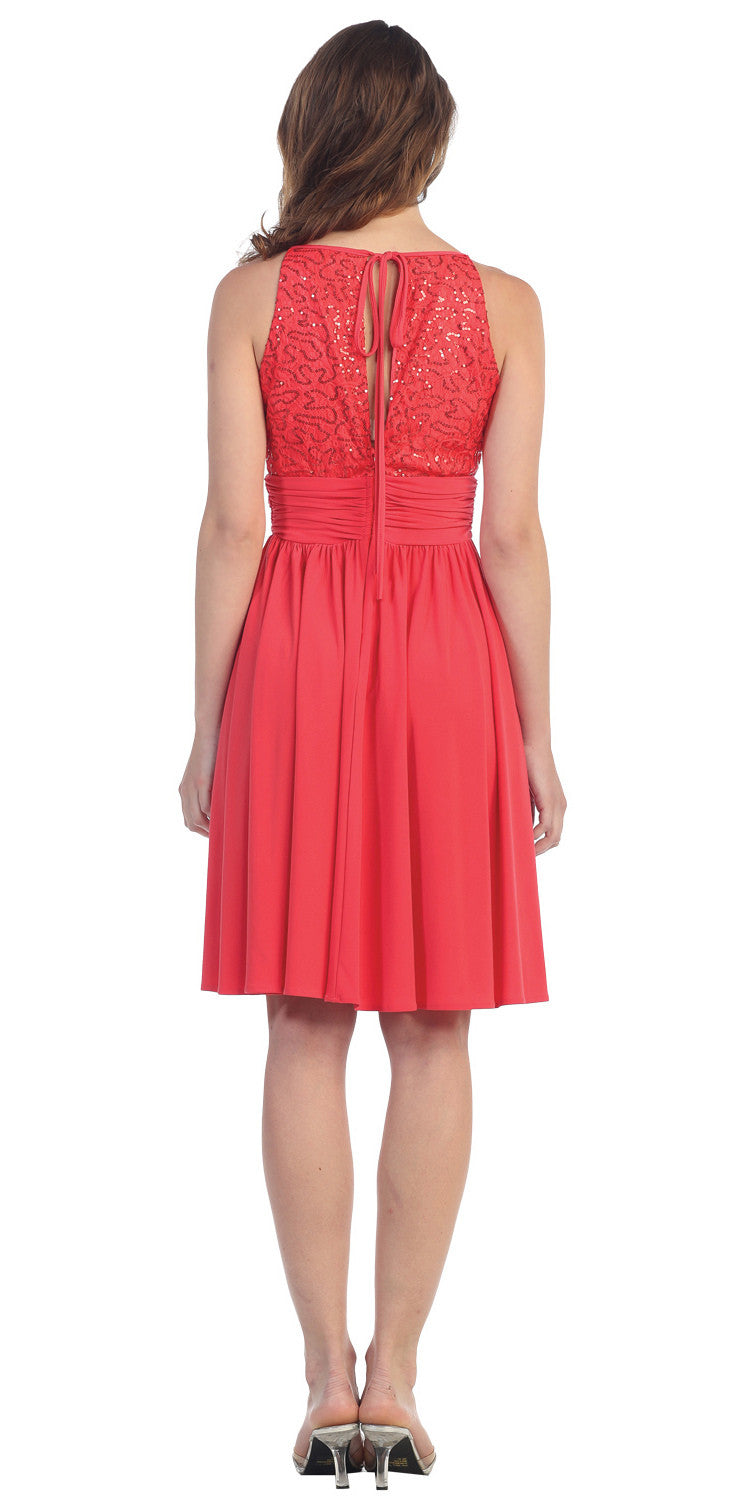 Knee Length Empire Sleeveless Dress Coral Lace/Sequin Top