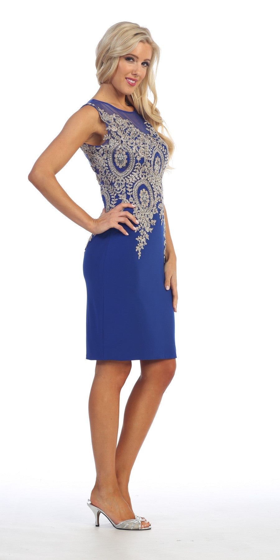 Knee Length Jersey Prom Dress Royal Blue Embroidered Top