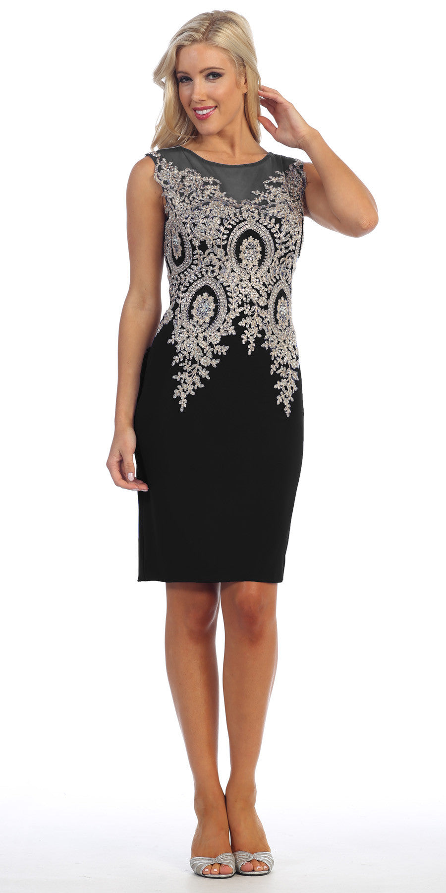 Knee Length Jersey Prom Dress Black Embroidered Top