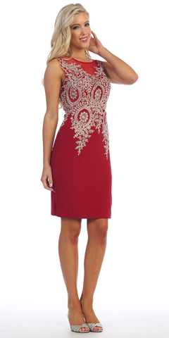 Knee Length Jersey Prom Dress Red Embroidered Top