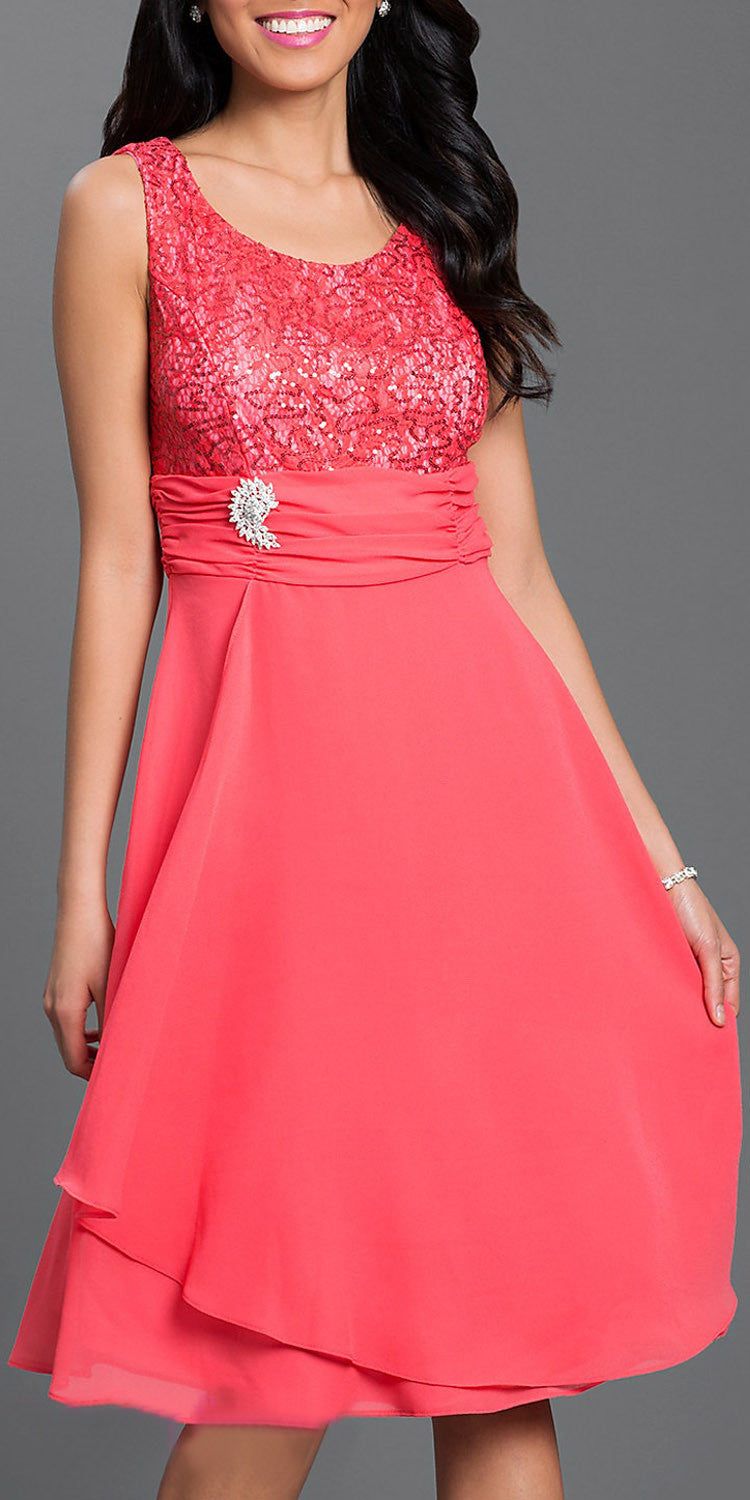 Knee Length Lace Top Dress Coral Matching Bolero A Line