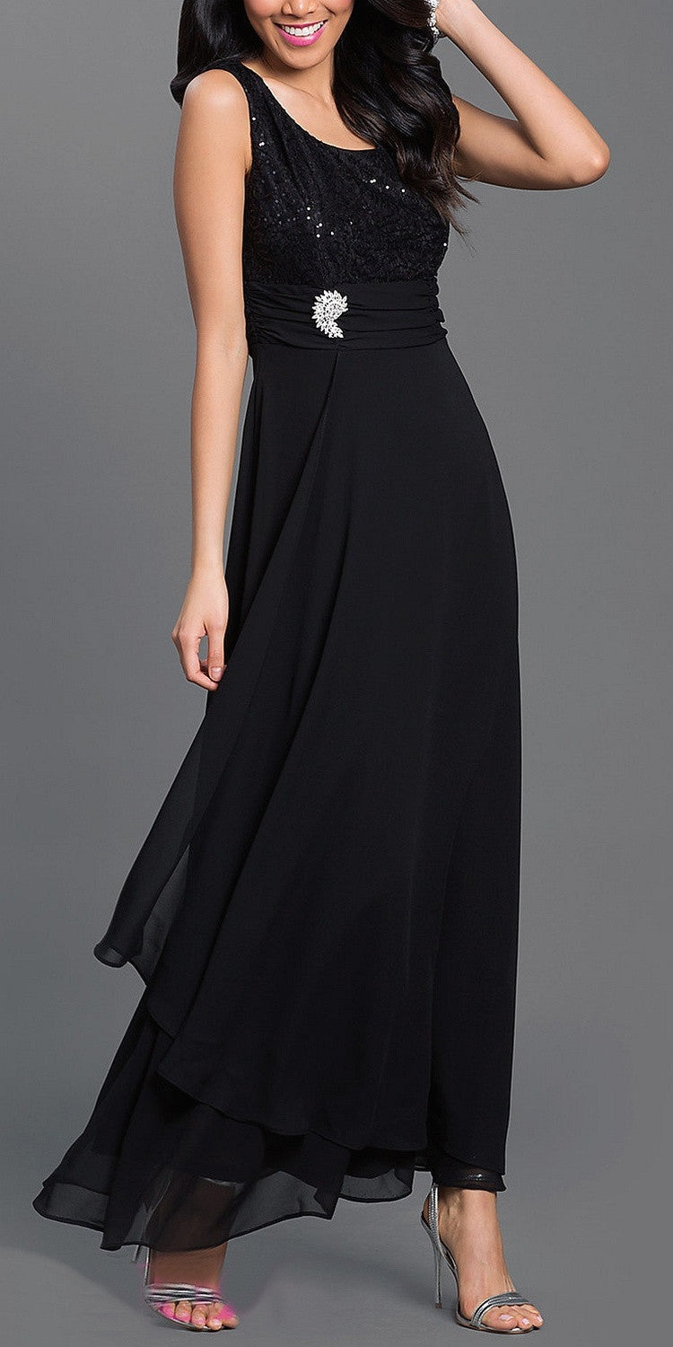 Long Empire Chiffon Dress Black Matching Bolero Lace Top