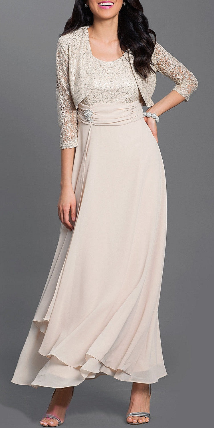 Long Empire Chiffon Dress Khaki Matching Bolero Lace Top