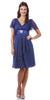 Short Sleeve Royal Blue Modest Knee Length Dress V Neckline Chiffon