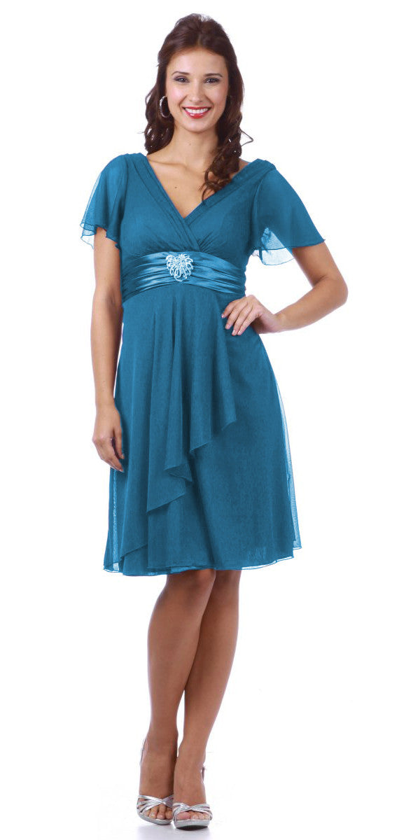 Short Sleeve Teal Modest Knee Length Dress V Neckline Chiffon