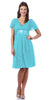 Short Sleeve Aqua Modest Knee Length Dress V Neckline Chiffon
