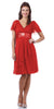 Short Sleeve Red Modest Knee Length Dress V Neckline Chiffon