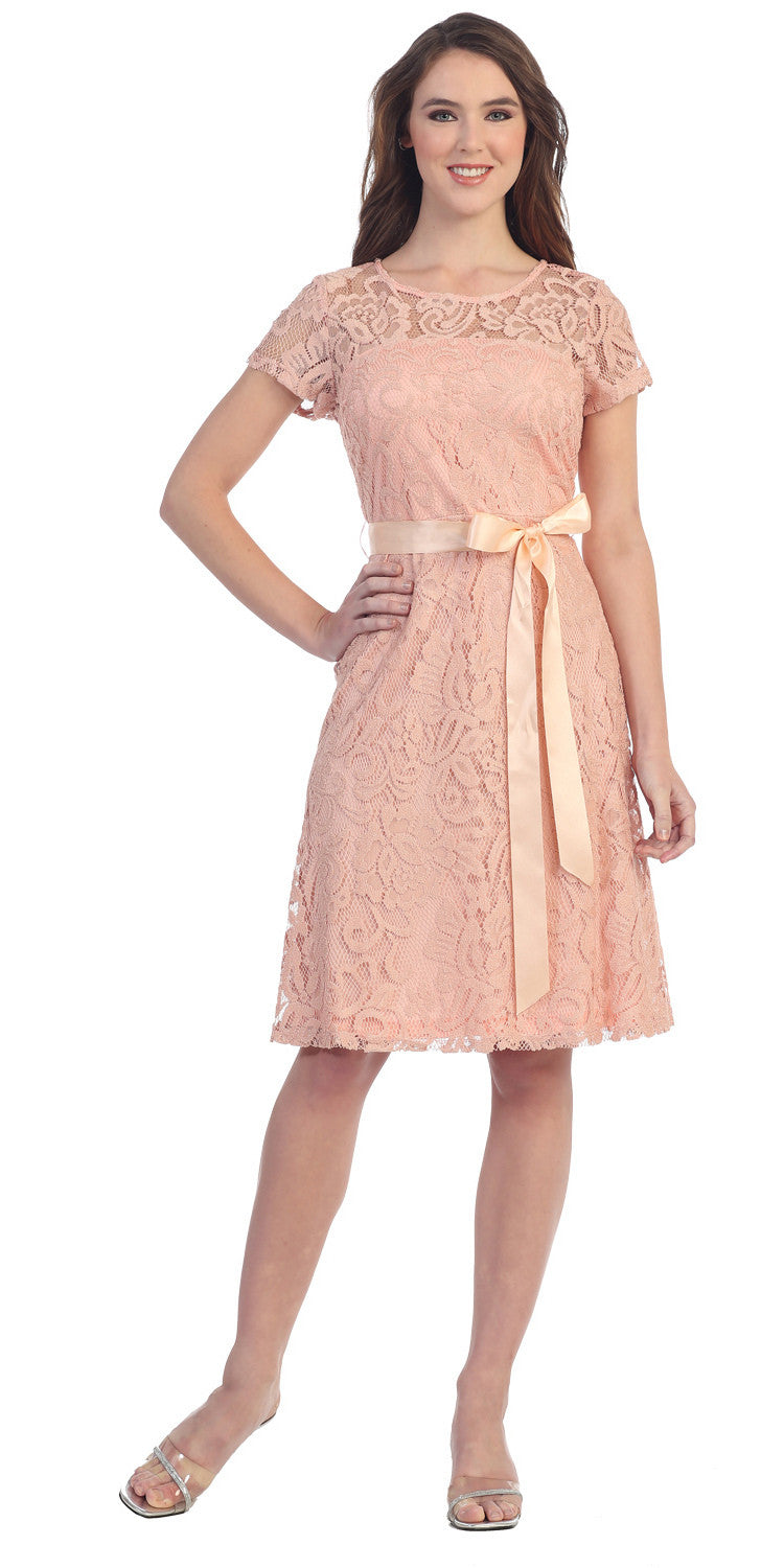 Knee Length Short Sleeve Lace Dress Peach Ribbon Bow