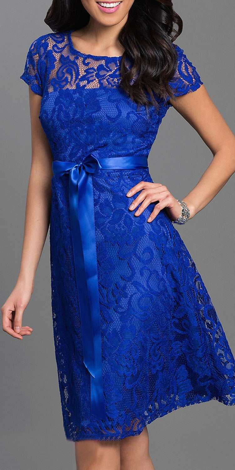 Knee Length Short Sleeve Lace Dress Royal Blue Ribbon Bow