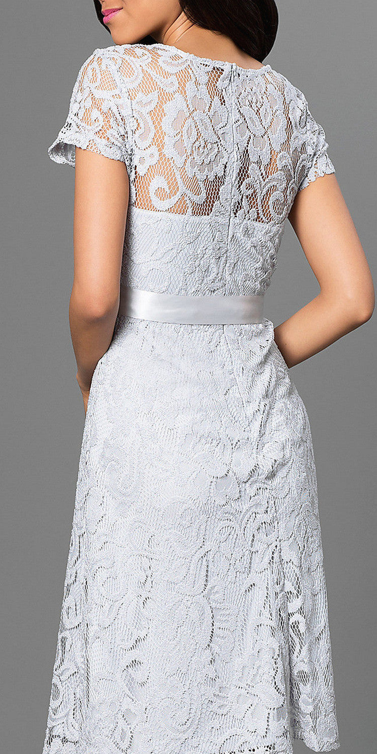Knee Length Short Sleeve Lace Dress Silver Ribbon Bow