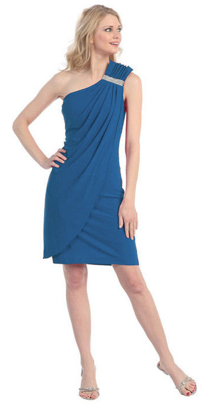 Knee Length Side Draped Teal Short Cocktail Dress