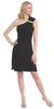Knee Length Side Draped Black Short Cocktail Dress