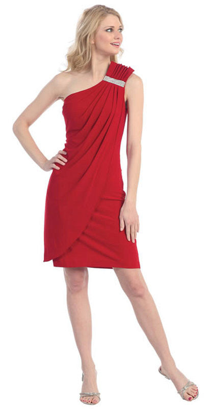 Knee Length Side Draped Red Short Cocktail Dress