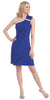 Knee Length Side Draped Royal Blue Short Cocktail Dress