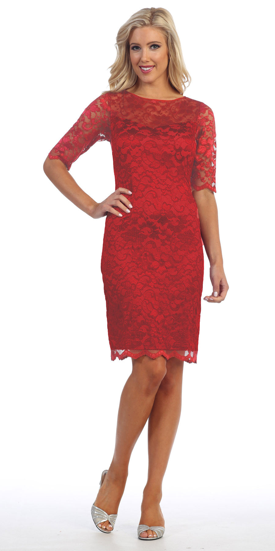 Lace Cocktail Dress Knee Length Red 3/4 Length Sleeves