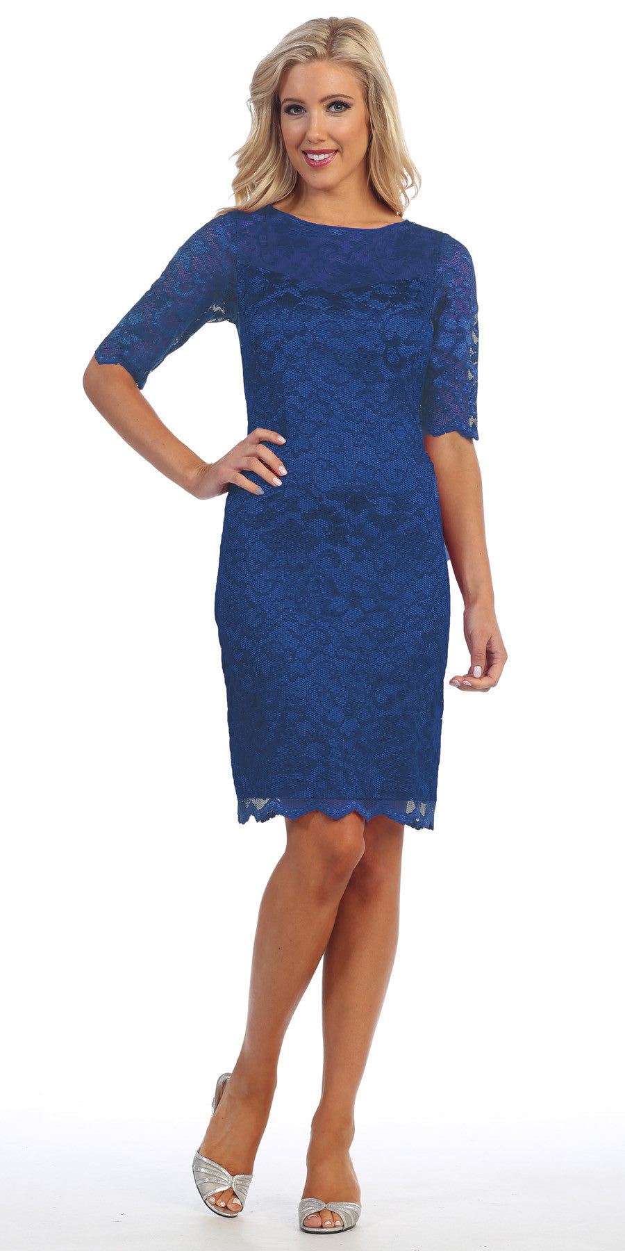 Lace Cocktail Dress Knee Length Royal Blue 3/4 Length Sleeves