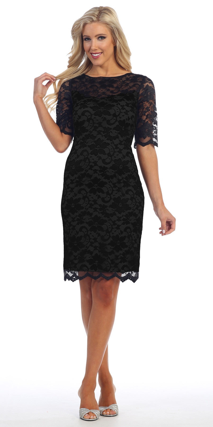 Lace Cocktail Dress Knee Length Black 3/4 Length Sleeves