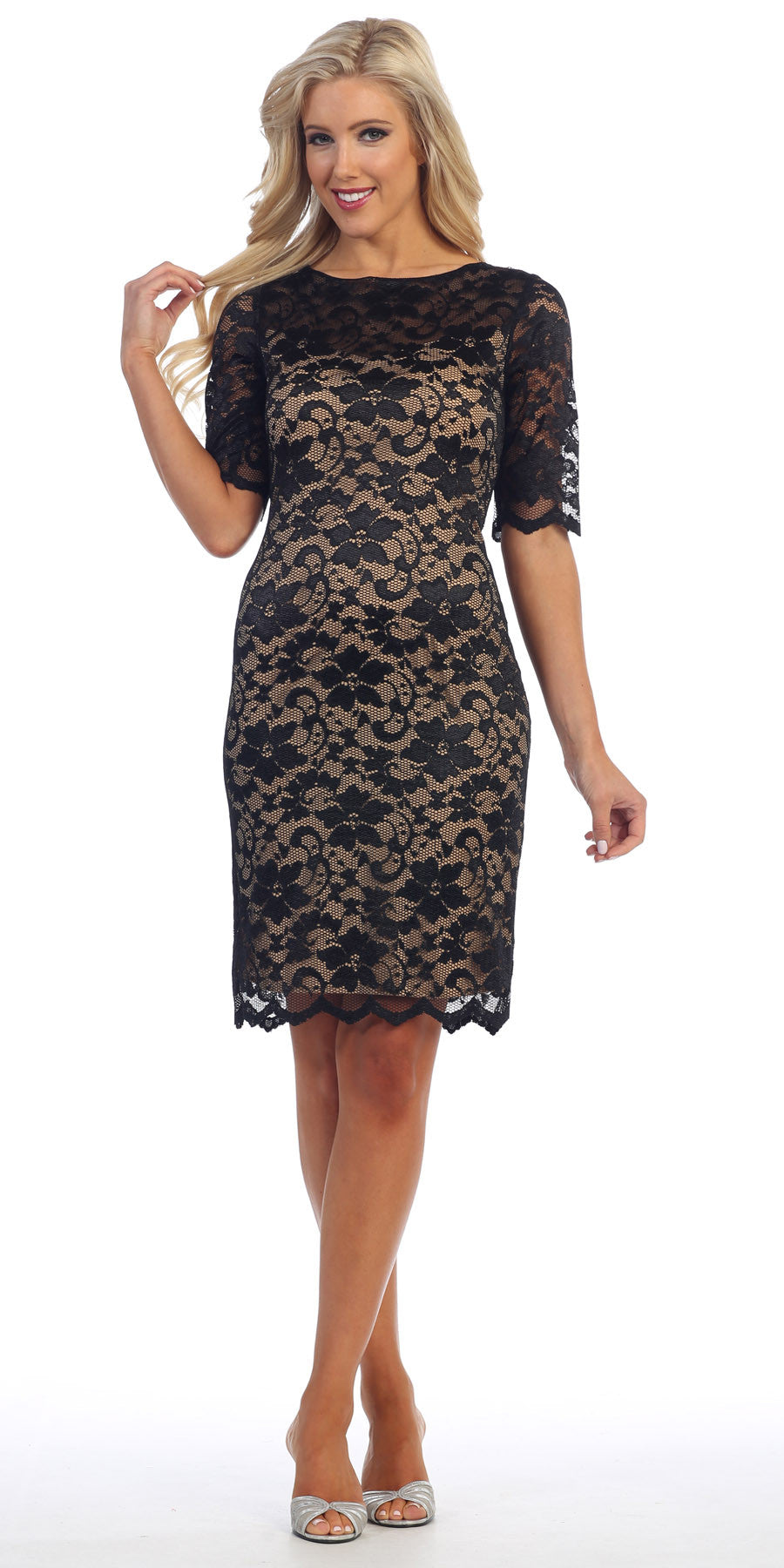 Lace Cocktail Dress Knee Length Black/Nude 3/4 Length Sleeves