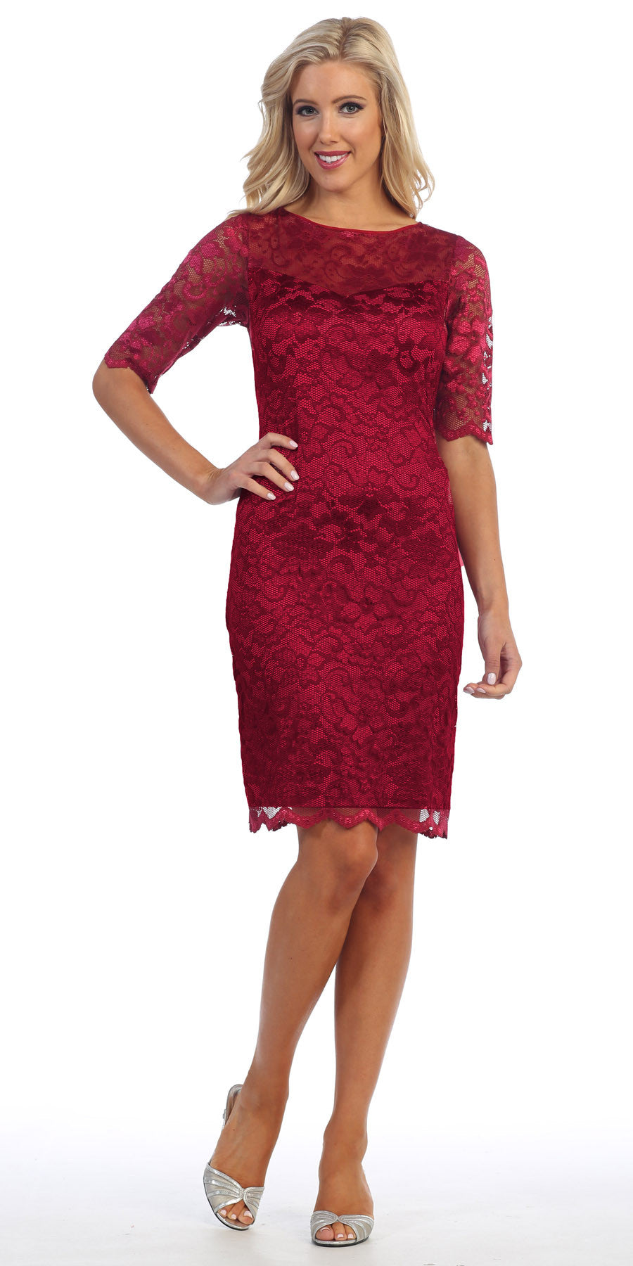 Lace Cocktail Dress Knee Length Burgundy 3/4 Length Sleeves